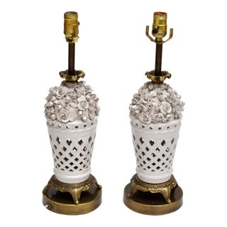 Porcelain and Bronze Table Lamps with Flowers, Pair