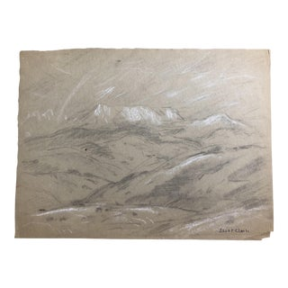 1930s Vintage Eliot Clark Impressionist Inspired Western Mountain Scene Drawing For Sale