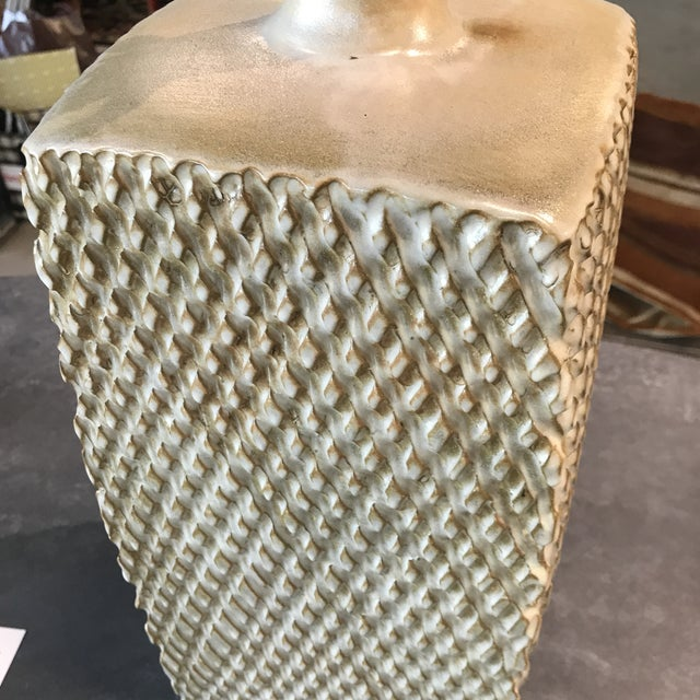 Mid-Century Modern 1960s Mid Century Modern Glazed Lamp With Original Shade For Sale - Image 3 of 4
