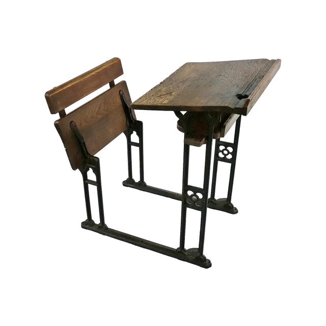 Industrial British Antique Oak & Iron Desk - Image 2 of 6