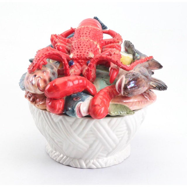 Stunning ceramic covered dish nearly overflowing with seafood! Could be used for table service or just as a decorative...