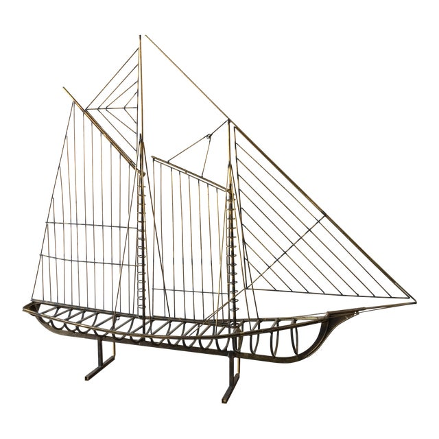 C.Jere Brass Schooner Ship Sculpture For Sale