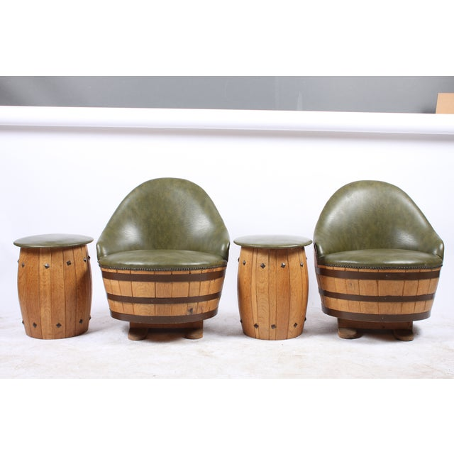 Oak Barrel Seating with Stools - Set of 4 - Image 2 of 7