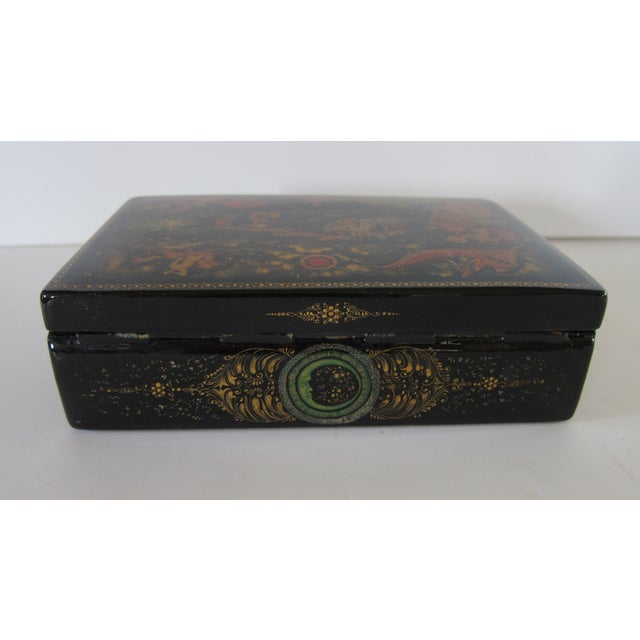 Russian Lacquered Hinged Box For Sale - Image 5 of 7
