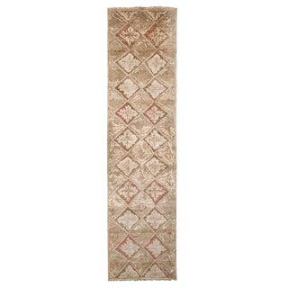 Contemporary Oushak Beige Silk Runner-3'2'x12'2' For Sale