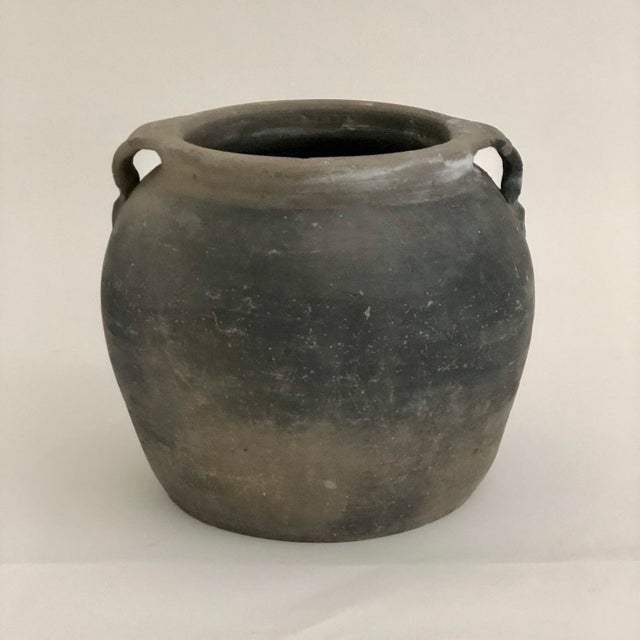 Gray Antique Chinese Matte Black Pottery Jug For Sale - Image 8 of 8