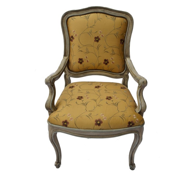 Hand Painted Arm Chair with Silk Upholstery - Image 4 of 4