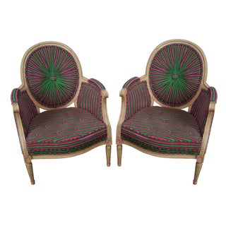 Vintage Colorful Pinwheel Back French Louis XVI Bergere Chairs - Pair For Sale