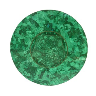 Vintage Green Malachite Stone & Brass Round Table Top For Sale