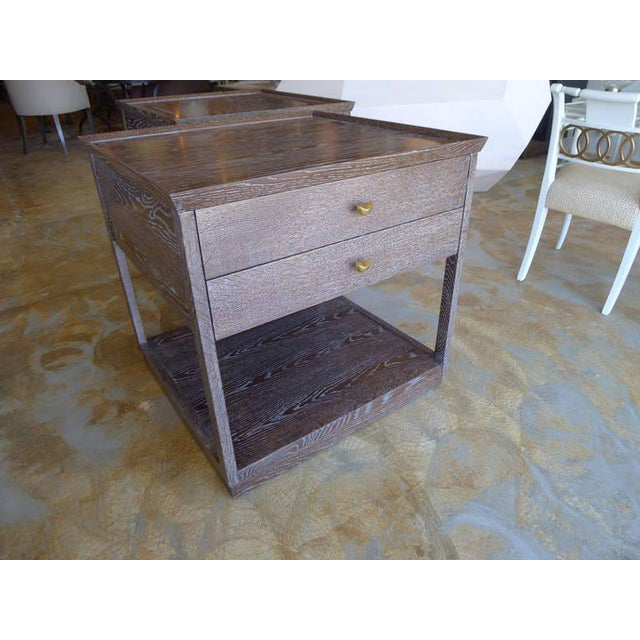 Paul Marra Ceruse Oak Two-Tier Nightstand For Sale - Image 9 of 10