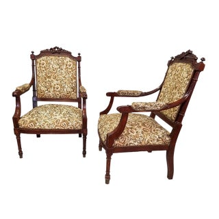 Circa 1910 Pair of French Louis XVI Arm Chairs For Sale
