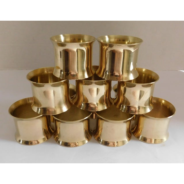 Solid Brass Vintage Napkin Rings - Set of 12 For Sale In New York - Image 6 of 13