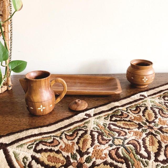 Vintage Indian Wooden Creamer and Sugar Set - Set of 3 For Sale In Austin - Image 6 of 7