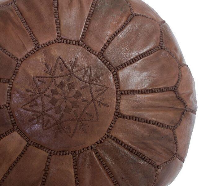 Brown Moroccan Leather Pouf Stuffed Chairish