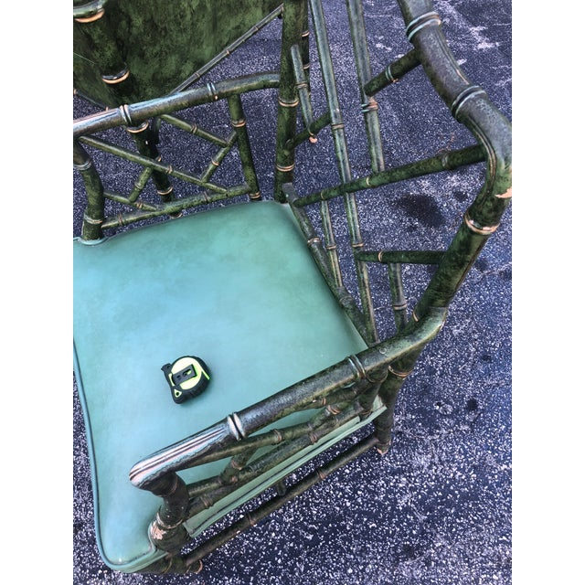 Antique Painted Malachite Arm Chair For Sale In Miami - Image 6 of 10