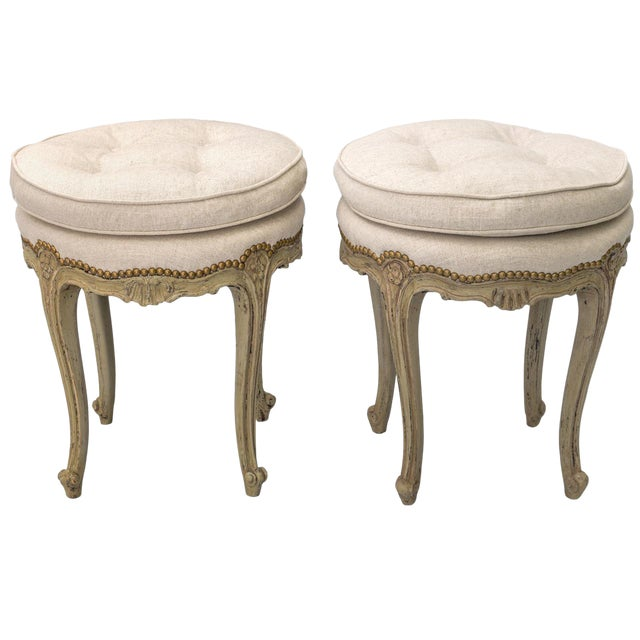 Pair of Louis XV Style Painted Stools For Sale