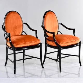 Pair Mid Century Ebonised Bentwood Armchairs With New Orange Velvet Upholstery Preview