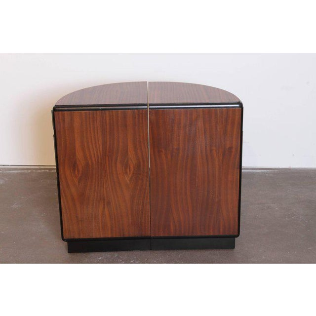 1930s Pair of Art Deco Half Demilune Ribbon Mahogany Corner Occasional Tables For Sale - Image 5 of 11