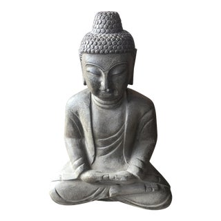 Hand Carved Black Stone Buddha Statue For Sale