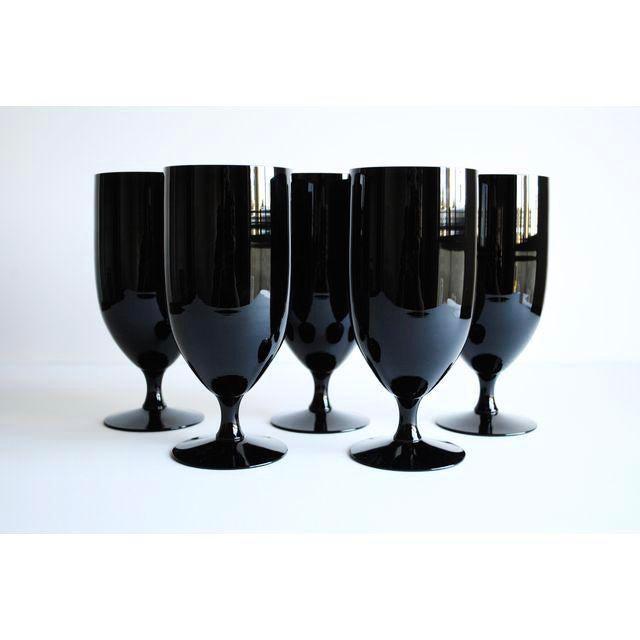Mid-Century Black Glasses - Set of 5 - Image 3 of 4