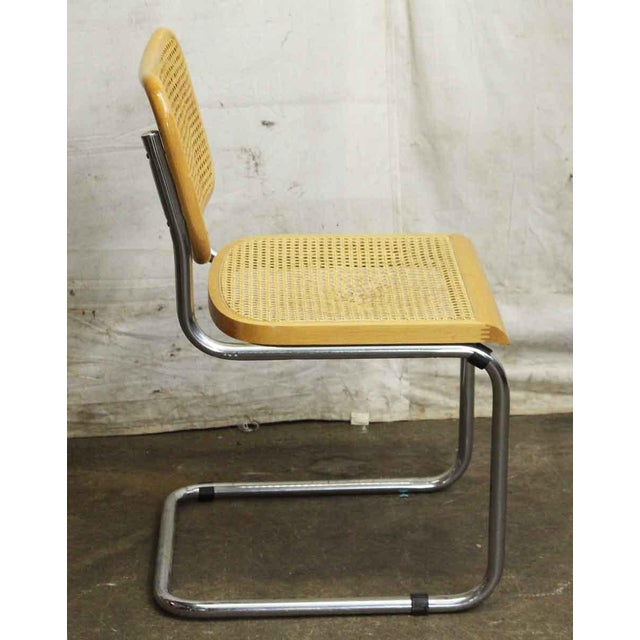 Vintage Cane Wood & Chrome Cesca Style Chair For Sale - Image 4 of 5