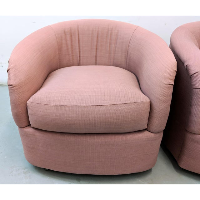 Modern Pink Barrel Back Lounge Chairs- A Pair For Sale - Image 10 of 12