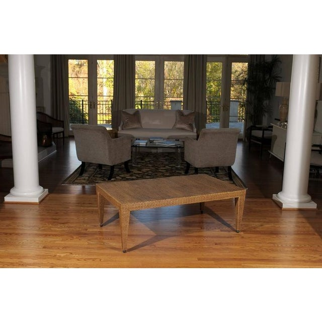 Modern Elegant Restored Vintage Raffia Coffee Table For Sale - Image 3 of 10