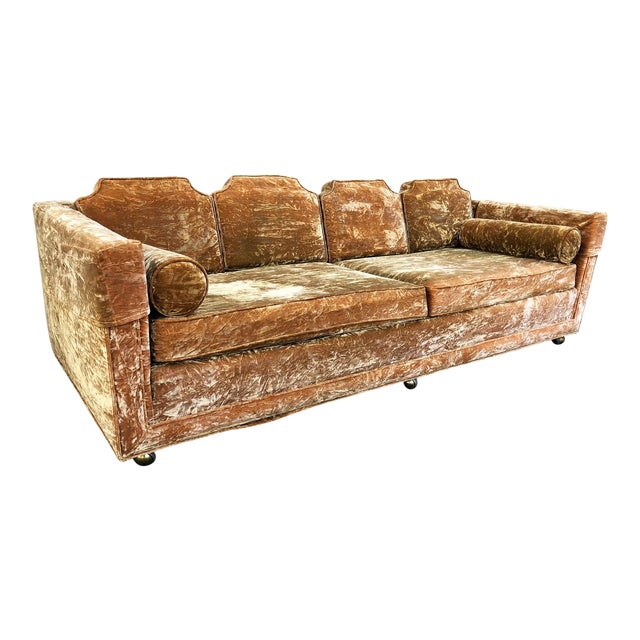 Mid Century Gold Crushed Velvet Rolling Sofa For Sale