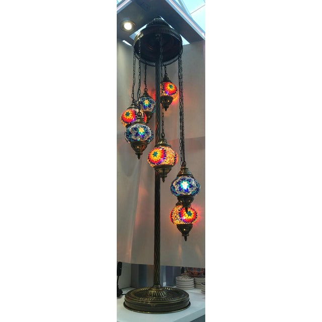 Brass Plated 7 Globe Tile Art Lamp - Image 2 of 6