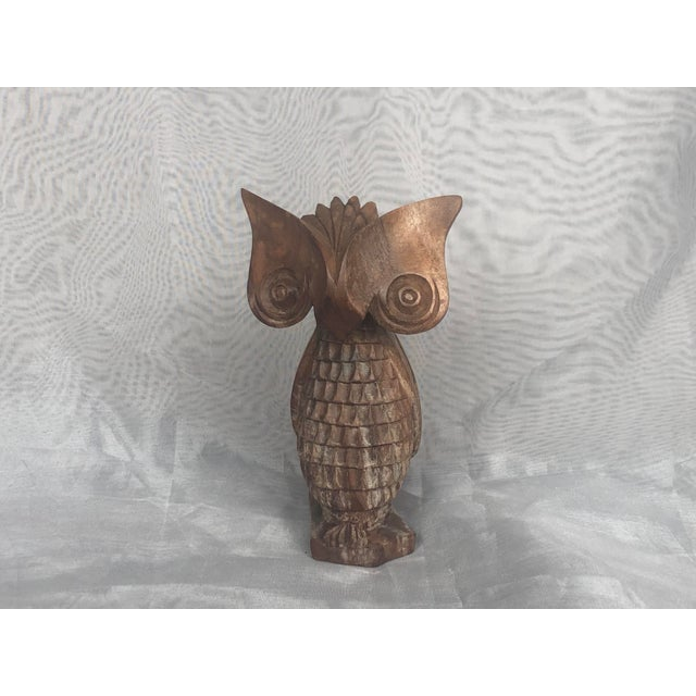 1960s Carved Wood Owl Statue For Sale - Image 12 of 12