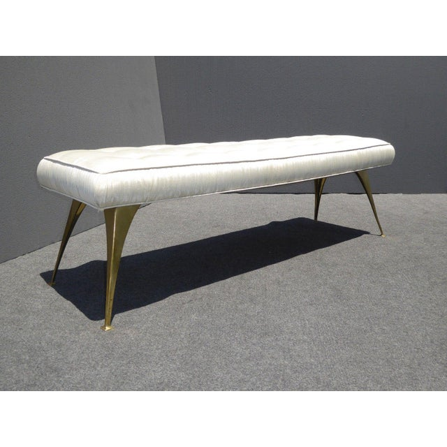 Jonathan Adler Style Mid-Century Modern Bench With Brass Legs - Image 2 of 11