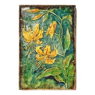 Werner Meschede 'Lillium Citronella' Botanical Wall Tile Nr. 7339 for Majolika Karlsruhe For Sale