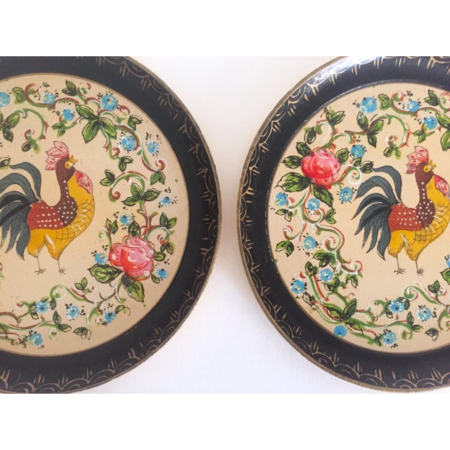 Asian Vintage 1940's Japanese Hand Painted Rooster Decorative Plates - A Pair For Sale - Image 3 of 11