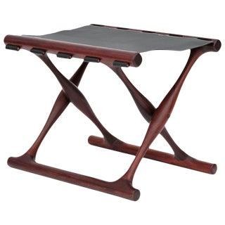 Rare Poul Hundevad Rosewood Folding Stool For Sale