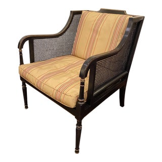 1980s Black Caned Barrel Arm Chair With Silk Upholstery For Sale