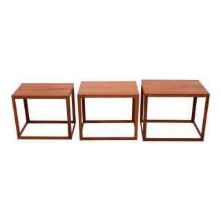 1960s Danish Modern Jorgen Baekmark for Poul Christiansen Teak Nesting Tables - Set of 3 For Sale