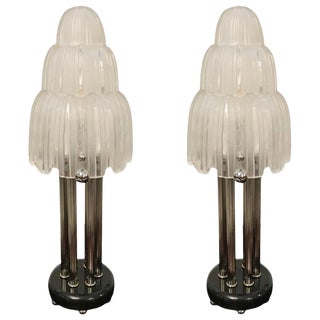"Early 20th Century French Art Deco Sabino ""Waterfall"" Table Lamps For Sale"