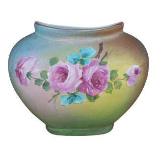 Vintage Hand Painted Pillow Vase For Sale