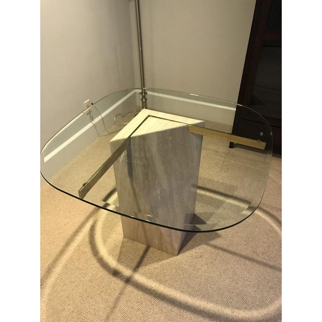 Mid-Century Modern Glass & Marble End Table For Sale - Image 5 of 6