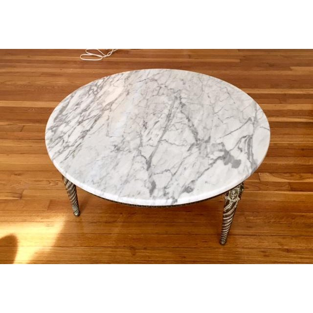 Round Marble Top Greek Key Patterned Coffee Table - Image 5 of 6
