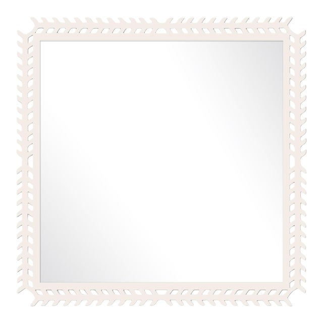 Fleur Home x Chairish Toulouse Trellis Mirror in White Dove, 24x24 For Sale