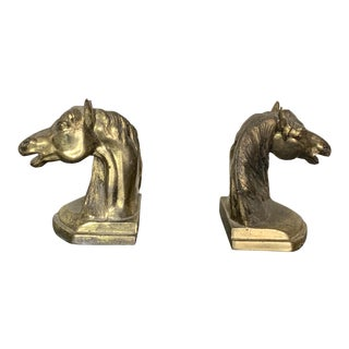 Antique Bronze Horse Head Bookends/Figures - a Pair For Sale