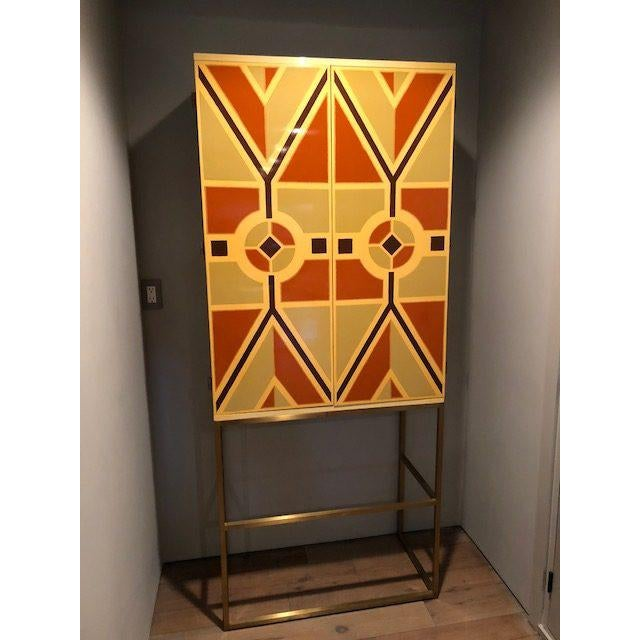 1960s Tommi Parzinger, Custom Hand-Painted Bar Cabinet, Usa, 1960s For Sale - Image 5 of 9