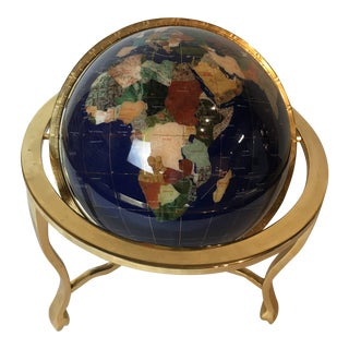 Mid Century Modern Gemstone & Mother of Pearl World Globe Alexander Kalifano Design on Golden Brass Base For Sale
