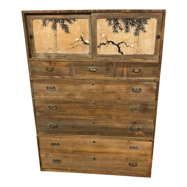 3 Piece Stacking Vintage Japanese Tansu Chest For Sale
