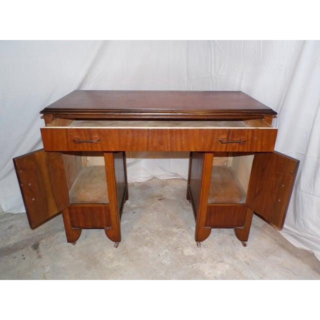 1930s Antique Art Deco Walnut Office Desk Vanity 1930's For Sale - Image 5 of 13