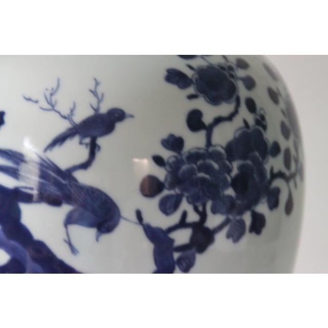 Chinoiserie Blue & White Porcelain Bird Jar - Image 3 of 5