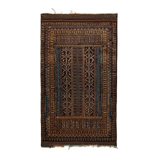 Hand-Knotted Vintage Baluch Rug in Beige Brown Tribal Runner Pattern For Sale