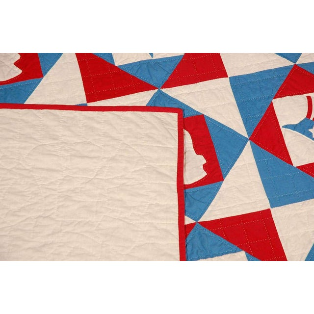 Blue Rare Patriotic Presidential Applique Quilt from 1925 For Sale - Image 8 of 9