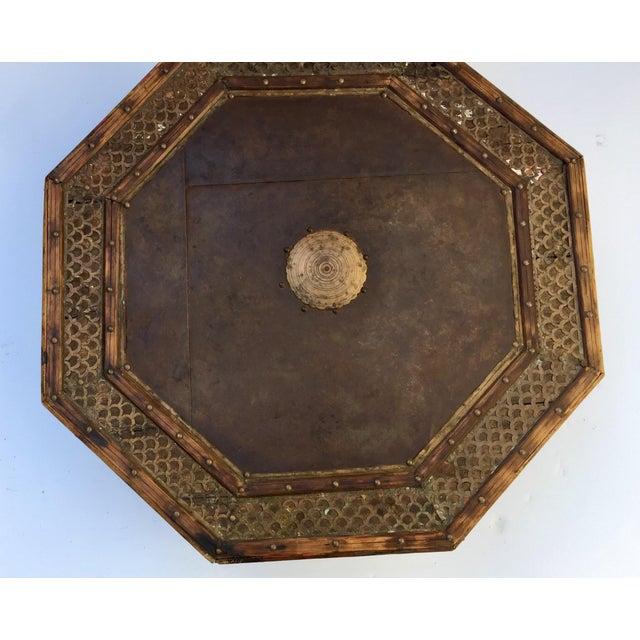 Brown Anglo Raj Moorish Design Octagonal Low Coffee Table For Sale - Image 8 of 12